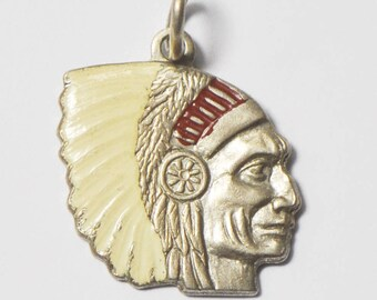 Beautiful Sterling Silver Enameled Native American Headress Charm Pendant 19mm