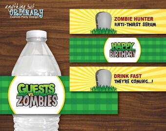 Zombie Party Water Bottle Labels, Printable Guests vs Zombies Bottle Labels, INSTANT DOWNLOAD, digital file