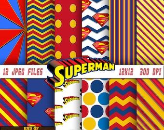 Superman digital paper, Superman background, Superman scrapbook, Superman scrapbook paper