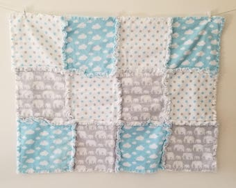 Baby Blue and Gray Clouds and Elephants Rag Blanket Quilt