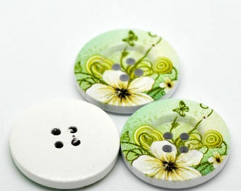 set of 5 wooden buttons painted 30 mm flower pattern