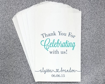 W17, Thank You for Celebrating, Wedding Candy Bag, Wedding Candy Buffet, Candy Favor Bag, Treat Bag, Kraft Bag, Personalized bag, Engagment