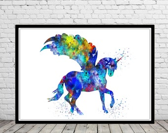 Unicorn, Unicorn print, watercolor Unicorn, watercolor Unicorn print, Unicorn Art Print, Wall Art, Poster, kids Room decor