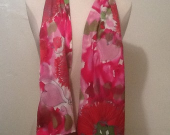 Lehua, Lokelani, Love!  Luxurious Silk Charmeuse Scarf - 11 x 60 inches - Pink and Red