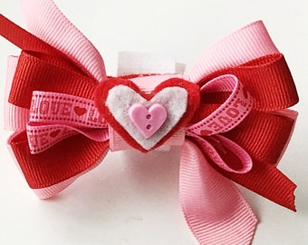 Pink and Red Valentine's Day Heart Bow for Dog and Cat Collar