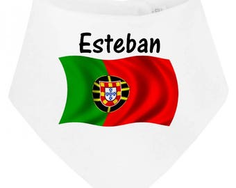 Personalized with name Portugal baby bandana bib