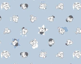 Disney Fabric 101 Dalmatians Fabric Puppy Faces in Blue From Camelot 100% Cotton