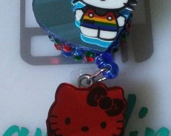 Pride bling badge reel with a mirror