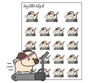 Planner Stickers Pug on a Treadmill