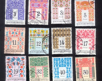 12 Gorgeous, Folk Art Postage Stamps from Hungary - Collage, Decoupage, Altered Books