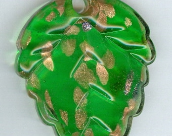 57mm x 40mm Bright Green Leaf with Gold Glass Lampwork Bead Focal Pendant