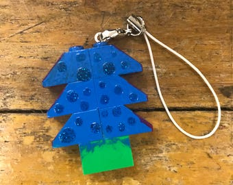 Christmas tree in hand-decorated building blocks
