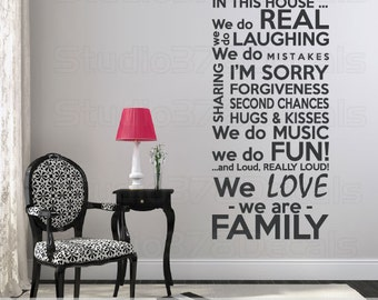 Family Rules Vinyl Wall Decal   House Rules   In This House We Do   Subway Art   Family Rules Wall Art   Family Vinyl Wall Quote
