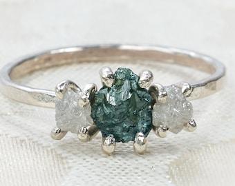 Three Stone Rough Diamond and Sterling Silver Ring - Raw Diamond Ring - Anniversary Gift - White Diamond Ring - Blue Diamond - Black Diamond