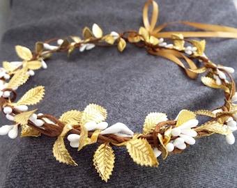 Greek Leaf Crown, Rustic gold crown , Greek Goddess, Grecian  Headpiece, Holiday hair wreath