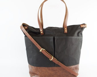 Black Waxed Canvas and Brown Leather Diaper Bag work travel tote - LEWIS - Waterproof  CANVAS top and LEATHER base carry all byholm goods