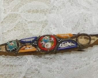 Antique Italian Mosaic Bar Brooch Pin made in Italy