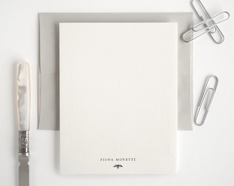 ROSADA Personalized Letterpress Stationery Set - Flat Note Cards - Gray and White - Rialto