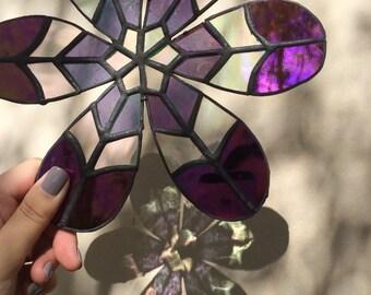 Flower power stained glass suncatcher