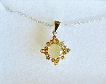 Starburst Designed Aurelia Rutilated Quartz and Citrine Pendant with Sterling Silver 20 Inch Chain