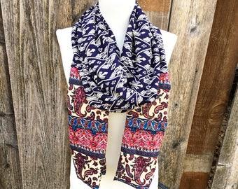 Boho scarf, Navy Boho scarf, Paisley infinity scarf, Ikat scarf, handmade hippie scarf, bohemian scarf, coworker gifts, girlfriend gift