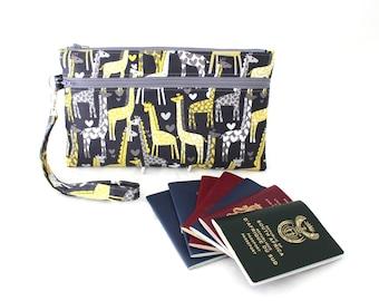 Family Passport Holder - Family Travel Wallet - travel document organizer - multiple passport holder - travel document holder - giraffe