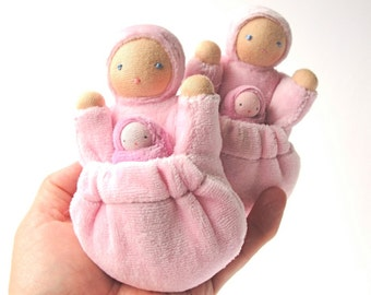 Pocket doll natural fiber waldorf toy tooth fairy doll pale pink mama baby PMP1