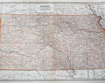 Antique Map : Kansas, USA, US State Map. Encyclopedia Britannica, 1890s (105)
