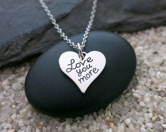 Love You More Necklace, Sterling Silver Love You More Charm, Love Jewelry