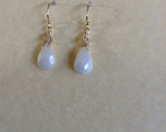 White Ivory Sapphire Earrings