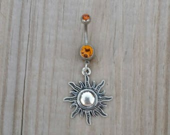 Carnelian Sun Belly Button Ring,Sun Belly Navel Ring, Belly Button Jewelry, Navel Piercing, Sun Body Jewelry, 14g Curved Barbell.