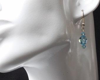 Swarovski Aqua Crystal Earrings