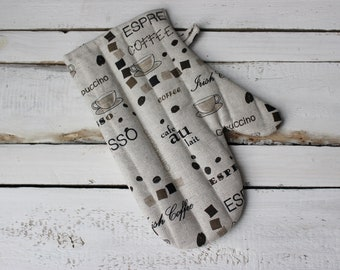 Coffee Kitchen glove Linen Glove Mother's day gift for the cook espresso kitchen accessories housewarming gift for cappuccino lover cafe