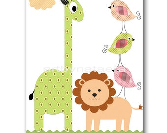 Kids wall art Kids Room Decor kids wall decor baby art nursery birds nursery lion kids bird print kids giraffe kids lion green rose