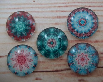 Mandala Fridge Magnets, Glass Kitchen Magnets, Set of 5, Kitchen Decor, Hostess Gift, Housewarming Gift, Office Decor, Locker Magnet