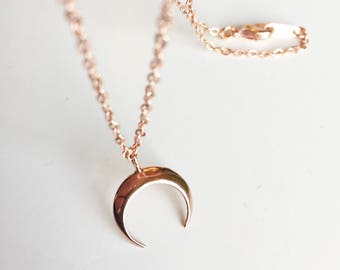 Rose gold plated chain and moon pendant necklace