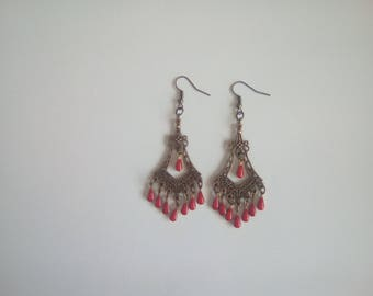 Earrings bronze and drops in brass and Red enamel charms