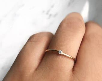 18K Gold Vermeil Minimal Solitaire Diamond Engagement Ring