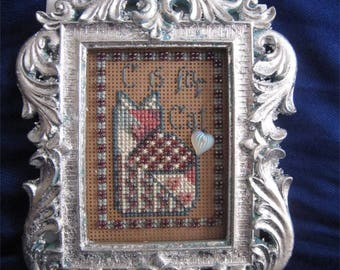 C IS FOR CAT * Mill Hill Simple Treasures MHST2 Finished & Framed Cross Stitch