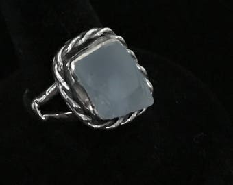 Sterling Silver Ring 925 with rough Blue Topaz