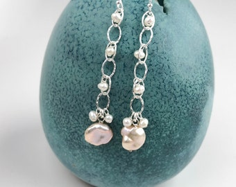 Freshwater Pearl and Sterling Silver Dangle Earrings - Unique Pearl Jewelry - Nickel Free Everyday Silver Jewelry - Pearl Earrings