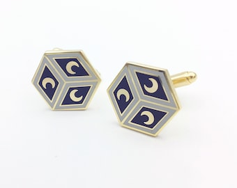 Gold plated and enamel Cufflinks: Siena