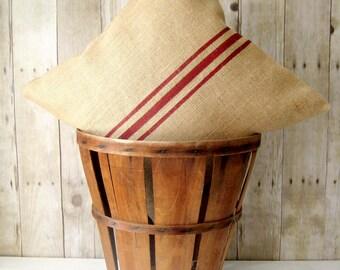 Grainsack Pillow / Burlap Pillow / Rustic Pillow / Cabin Pillow/ Cottage Decor / lakehouse pillow / Farmhouse Pillow / Choose your Colors