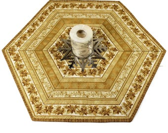 Golden Quilted Table Toppers, Poinsettia Hexagon Table Runner Quilts, Quiltsy Handmade Patchwork Quilt, Gold Poinsettias