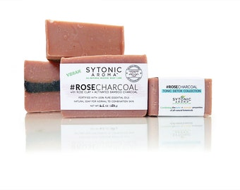 ROSE CHARCOAL Soap - Rose Clay + Activated Bamboo Charcoal (6.0 to 6.3 oz.) - All Natural, VEGAN, Handmade Soap