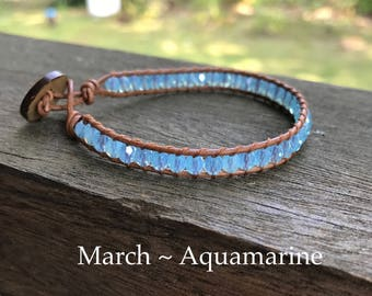 March Birthstone Aquamarine Wrap Bracelet