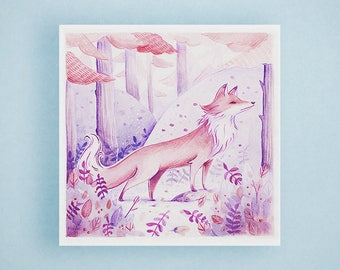 Fox Illustration Print - Fox Wall Art, Animal Art Print, Fox Lover Gift, Watercolor Illustration, Nursery Wall Art, Square Print, Home Decor