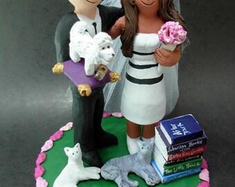 Mixed Race - Interracial Wedding Cake Topper, Wedding Cake Topper for a Mixed Race Bride and Groom, Bi - RacialWedding Cake Topper