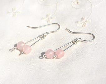 Pierres précieuses boucles d'oreilles Boucles d'oreilles argent Quartz Rose bijoux Boucles d'oreilles argent pendantes boucle d'oreille boucle d'oreille rose Made in Israël livraison gratuite