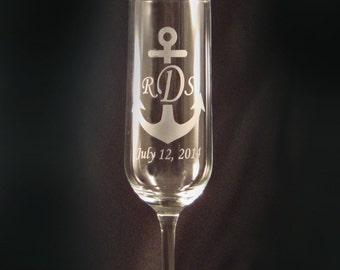 Personalized Custom Champagne Toasting Flutes - Nautical Wedding Glasses - Anchor Monogram - Beach Wedding Glasses - Personalized Flutes